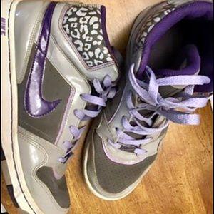 Nike High Top Shoes (grey leopard & purple)